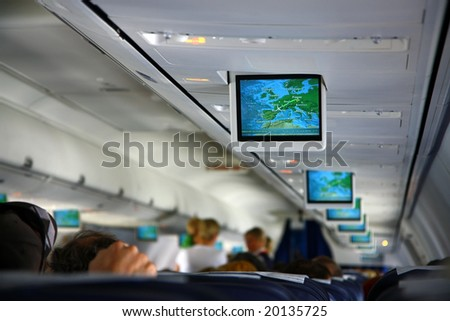 screens inside of aircraft - stock photo