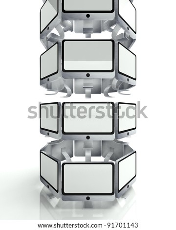 Screens tower, global television concept, 3d render - stock photo