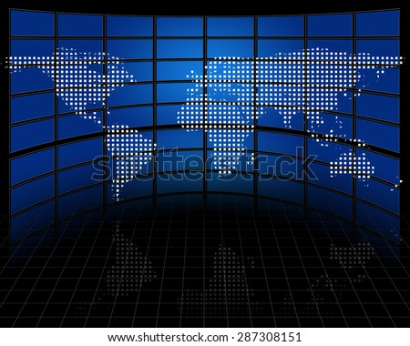 Screens with projected map of earth - stock photo