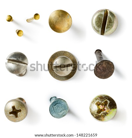 Screw and nail heads collection on white background - stock photo