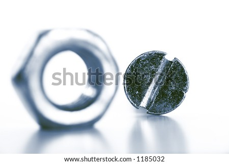 Screw and nut - stock photo