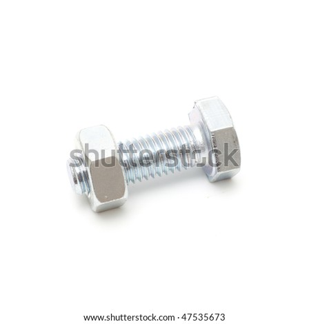 Screw and nut studio isolated on white background