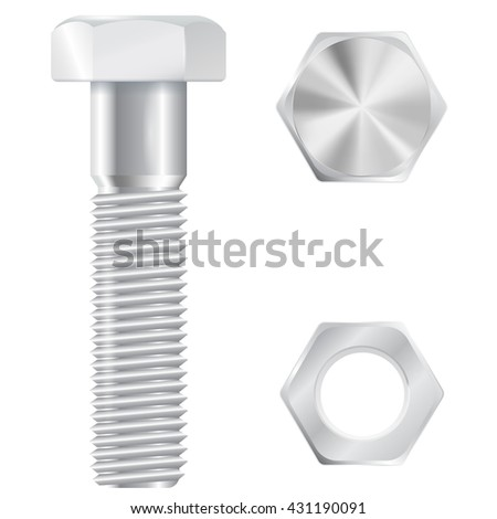 Screw bolt with nut. Realistic illustration isolated on white background. Raster version - stock photo