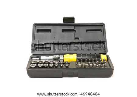 Screw driver and spanner kit isolated  on a white background