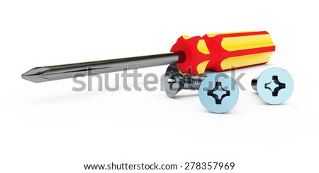 screw-driver with a cross with the red-yellow handle and bolts lie on a white background - stock photo