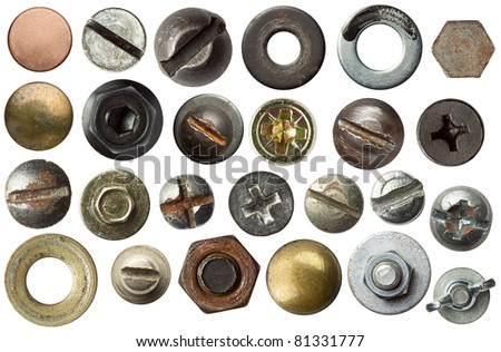 Screw heads and other metal details. - stock photo