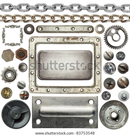 Screw heads, chains, frames and other metal details - stock photo