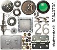 Screw heads, cogs, frames and other metal details - stock photo