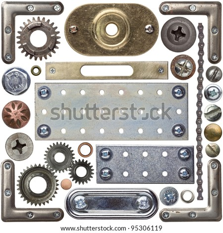 Screw heads, frames and other metal details - stock photo