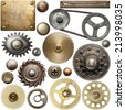 Screw heads, gears, textures and other metal details. - stock photo