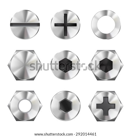 Screw heads. isolated on white. Raster version - stock photo