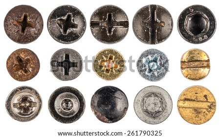 Screw heads, nuts, rivets. - stock photo