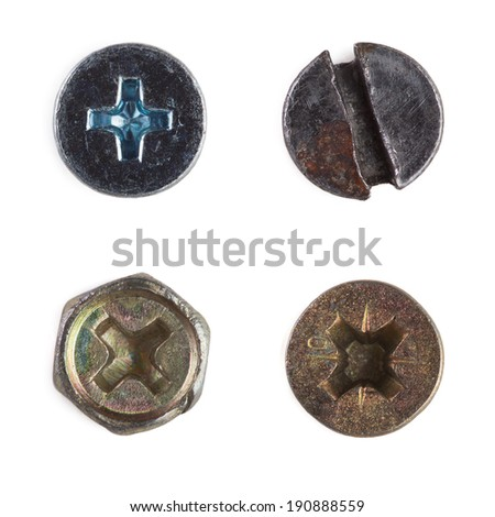 Screw heads, nuts, rivets. bolt. Isolated on wite. - stock photo