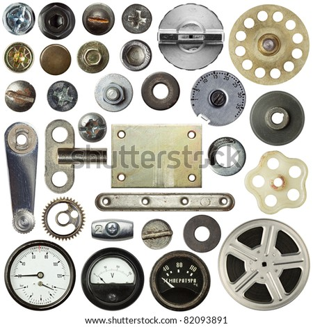Screw heads, plates and other metal details, textures. - stock photo