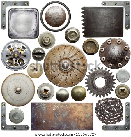 Screw heads, textures and other metal details - stock photo