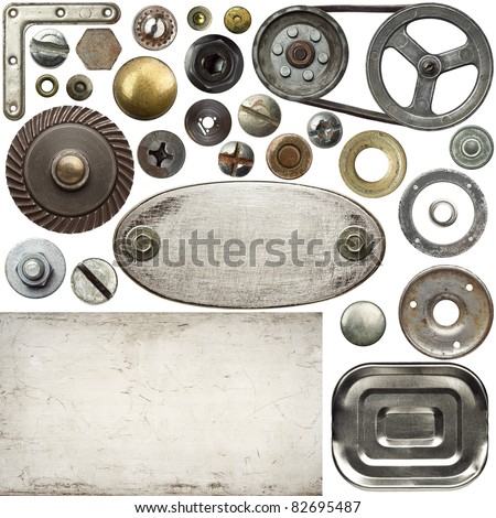 Screw heads, textures, frames and other metal details - stock photo