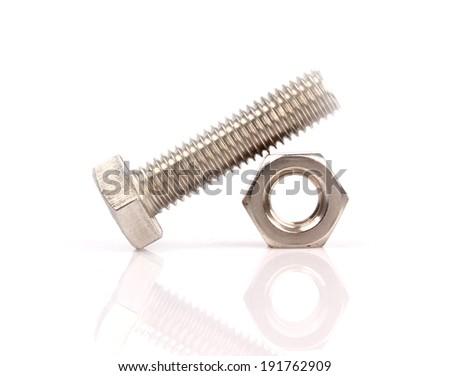 Screw on white - stock photo
