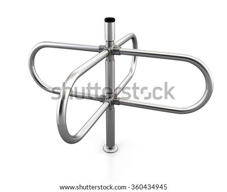 Screw tourniquet isolated on white background. 3d rendering. Metal turnstile. - stock photo