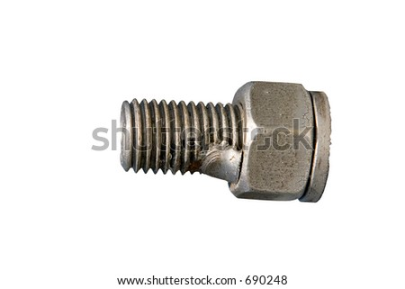 Screw with clipping path on white background