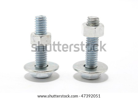screw with nut and washer - stock photo