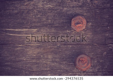 Screw with wood vintage color - stock photo