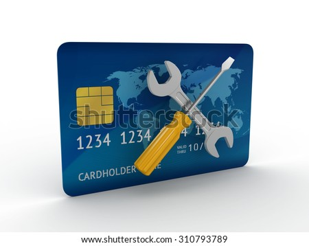 Screwdriver and a wrench on the back of the credit card. 3d render on white background - stock photo