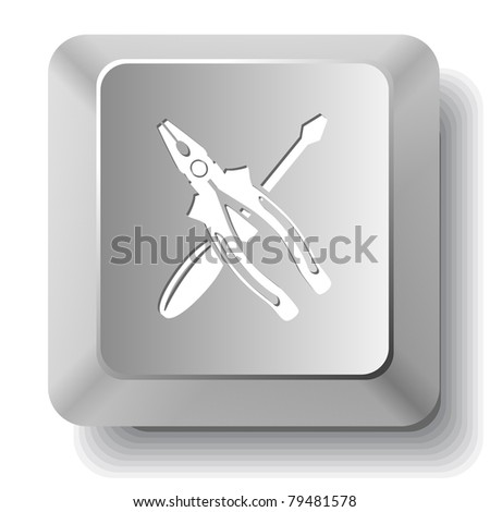 Screwdriver and combination pliers. Computer key. Raster illustration. - stock photo