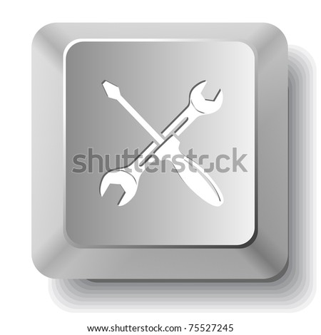 Screwdriver and spanner. Computer key. Raster illustration. - stock photo