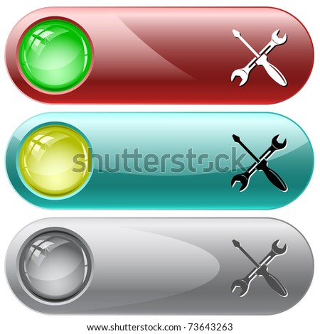 Screwdriver and spanner. Internet buttons. Raster illustration. Vector version is in my portfolio. - stock photo