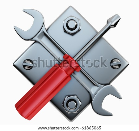 Screwdriver and wrench on white background - stock photo