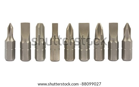 Screwdriver bits isolated on white background - stock photo