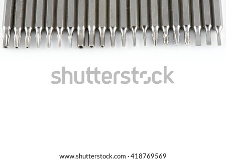 Screwdriver tips on white background