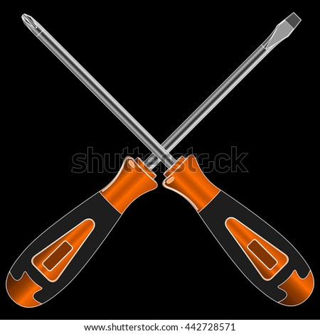 screwdriver with different bits on a black background - stock photo