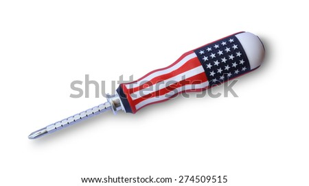 screwdriver with the american flag isolated on white - stock photo