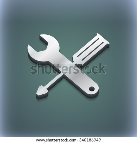 screwdriver with wrench icon symbol. 3D style. Trendy, modern design with space for your text illustration. Raster version - stock photo