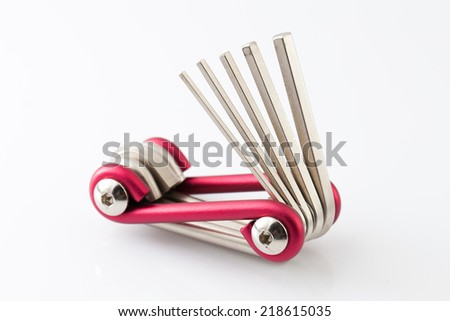 screwdrivers multi-tool on white background. - stock photo