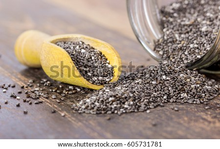 Screwed glass and shakers with chia seeds / chia seeds / food