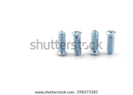 screwed screws nuts against isolated on white background - stock photo