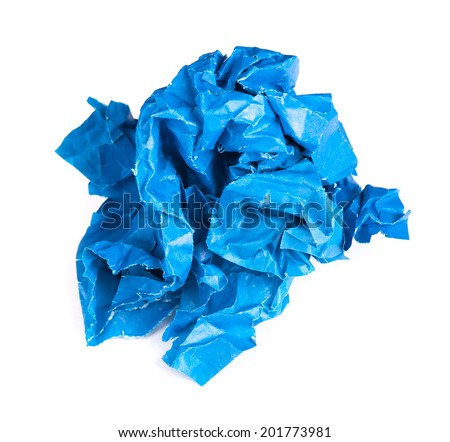 Screwed up piece of blue paper isolated on white background - stock photo
