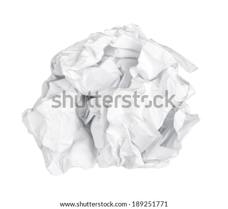Screwed up piece of paper isolated on white background - stock photo