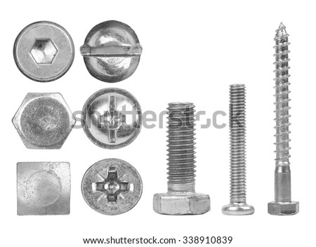 Screws and heads isolated on white background - stock photo