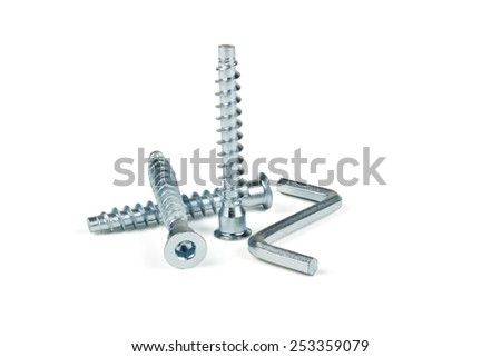 Screws and hexagon for a coupler furniture on a white background - stock photo