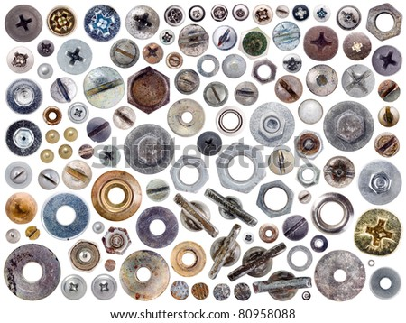 Screws and nuts heads set isolated on white background. - stock photo