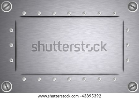 Screws and rivets in brushed steel background