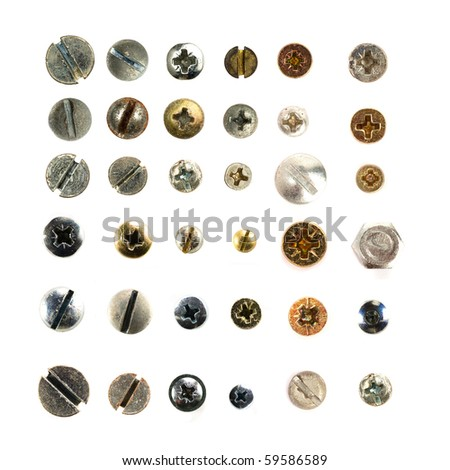 Screws head collection. - stock photo