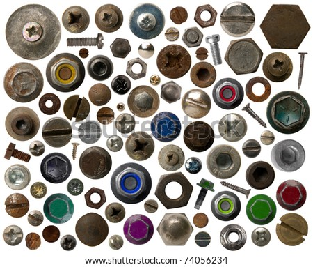 Screws heads isolated on white - stock photo