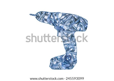 Screws in the shape of electric screwdriver on white - stock photo