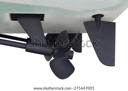 Screws of motor yacht - stock photo