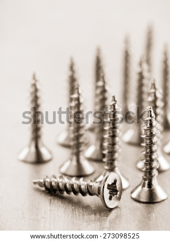 screws tool at metal background texture - stock photo