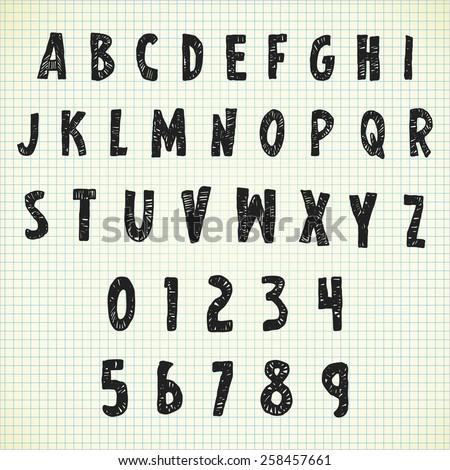 scribble alphabet - stock photo